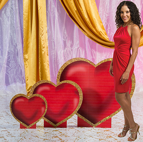 1 ft. 6 in. to 2 ft. 11 in. Gold Heart Standee Set