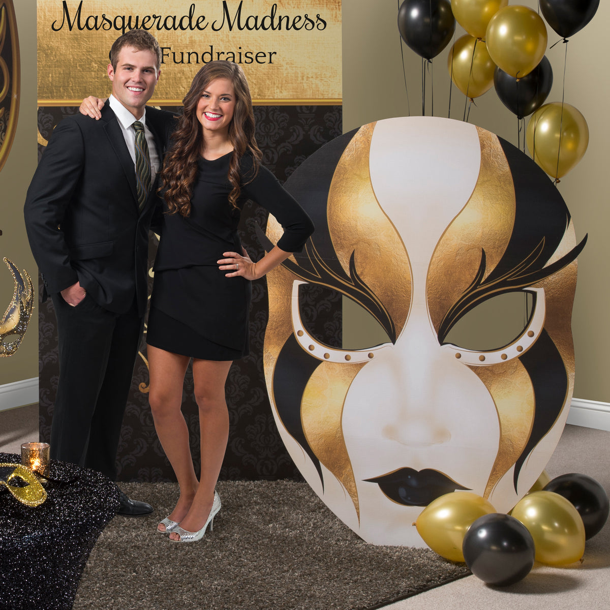 4 ft. 11 in. Black and Gold Venetian Masquerade Mask Standee