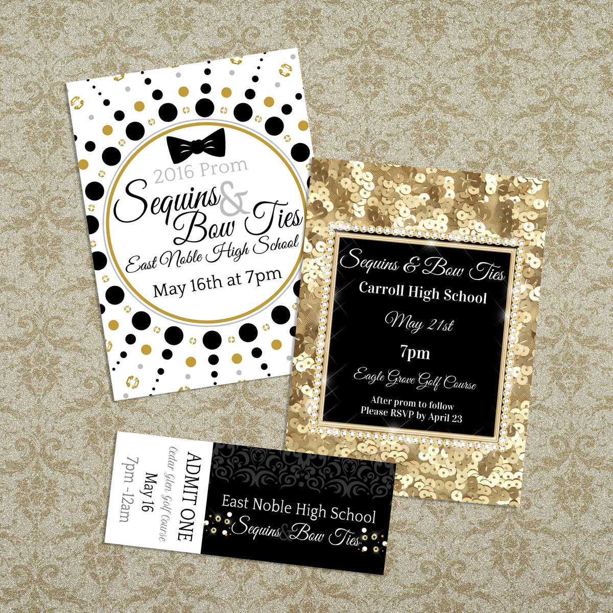 Gold Stripe Personalized Invitations
