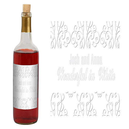 White Party Scrolls Wine Bottle Label