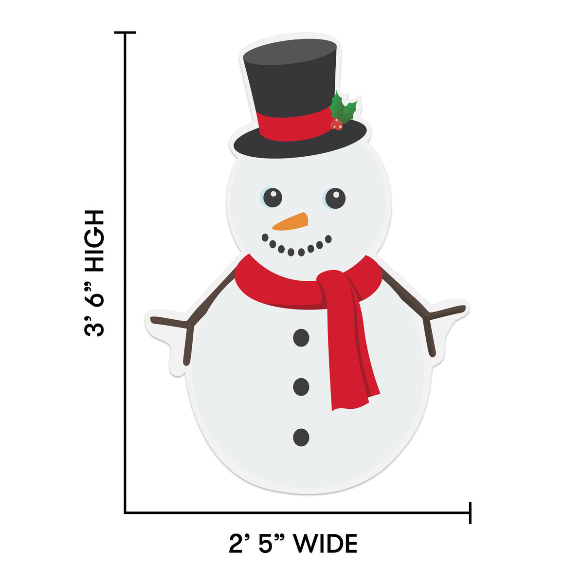 3 ft. 6 in. Snowman Removeable Wall Decal