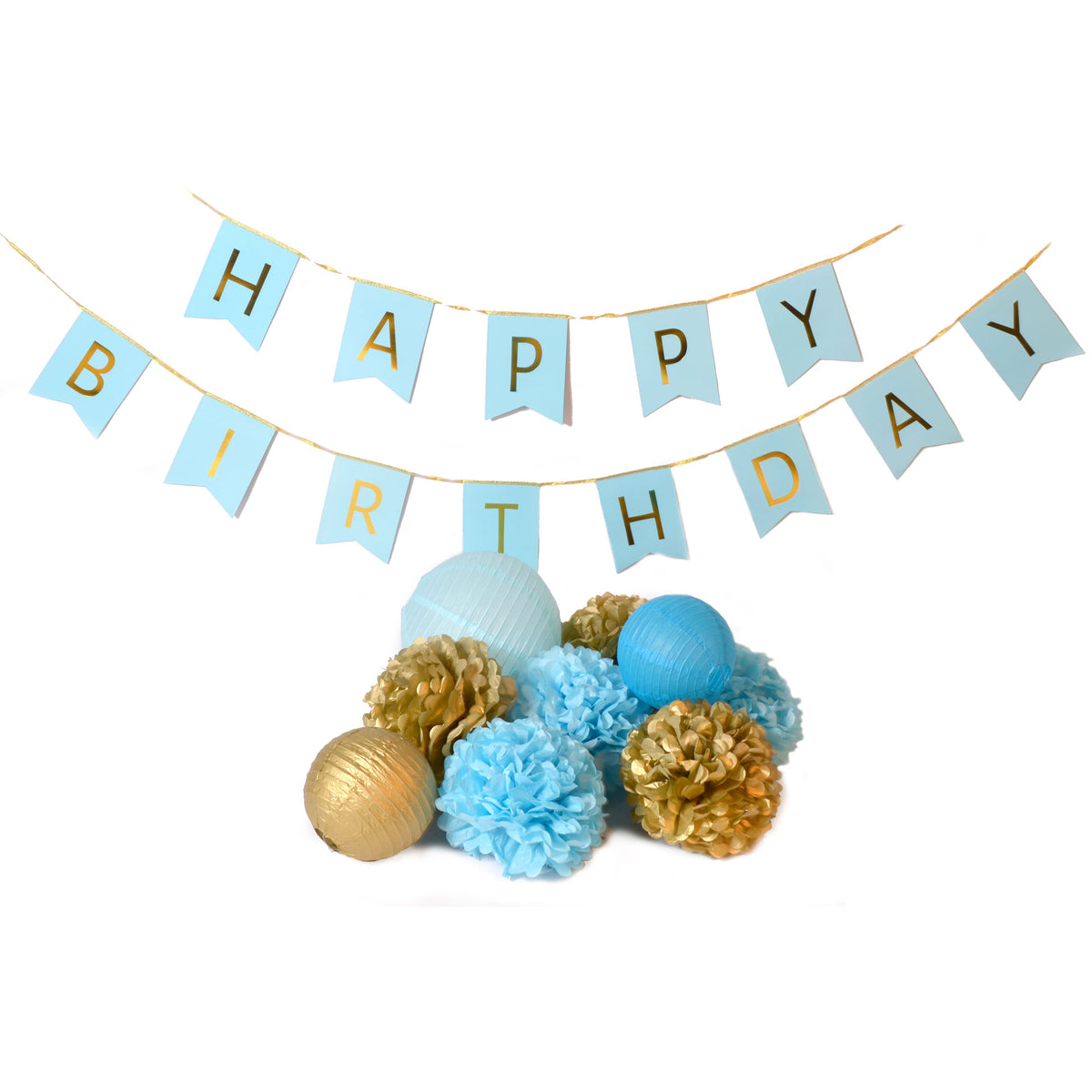Blue Happy Birthday Banner Decorating Kit