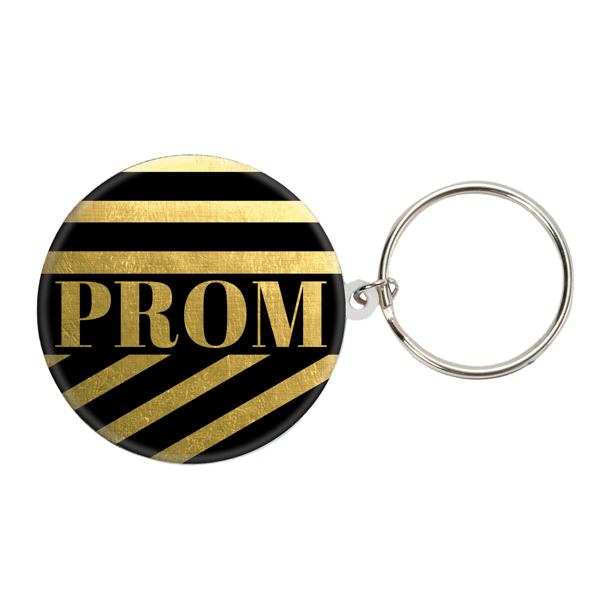 Prom Gold Stripe Round Key Chain