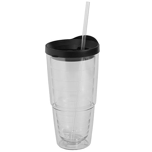 Unimprinted Double Wall Tumbler W/Straw