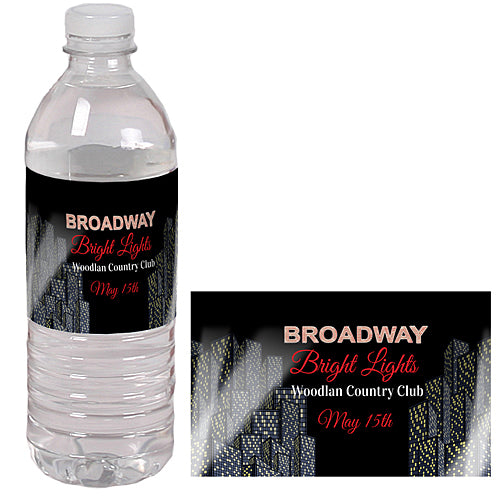 Bright Lights on Broadway Water Bottle Labels