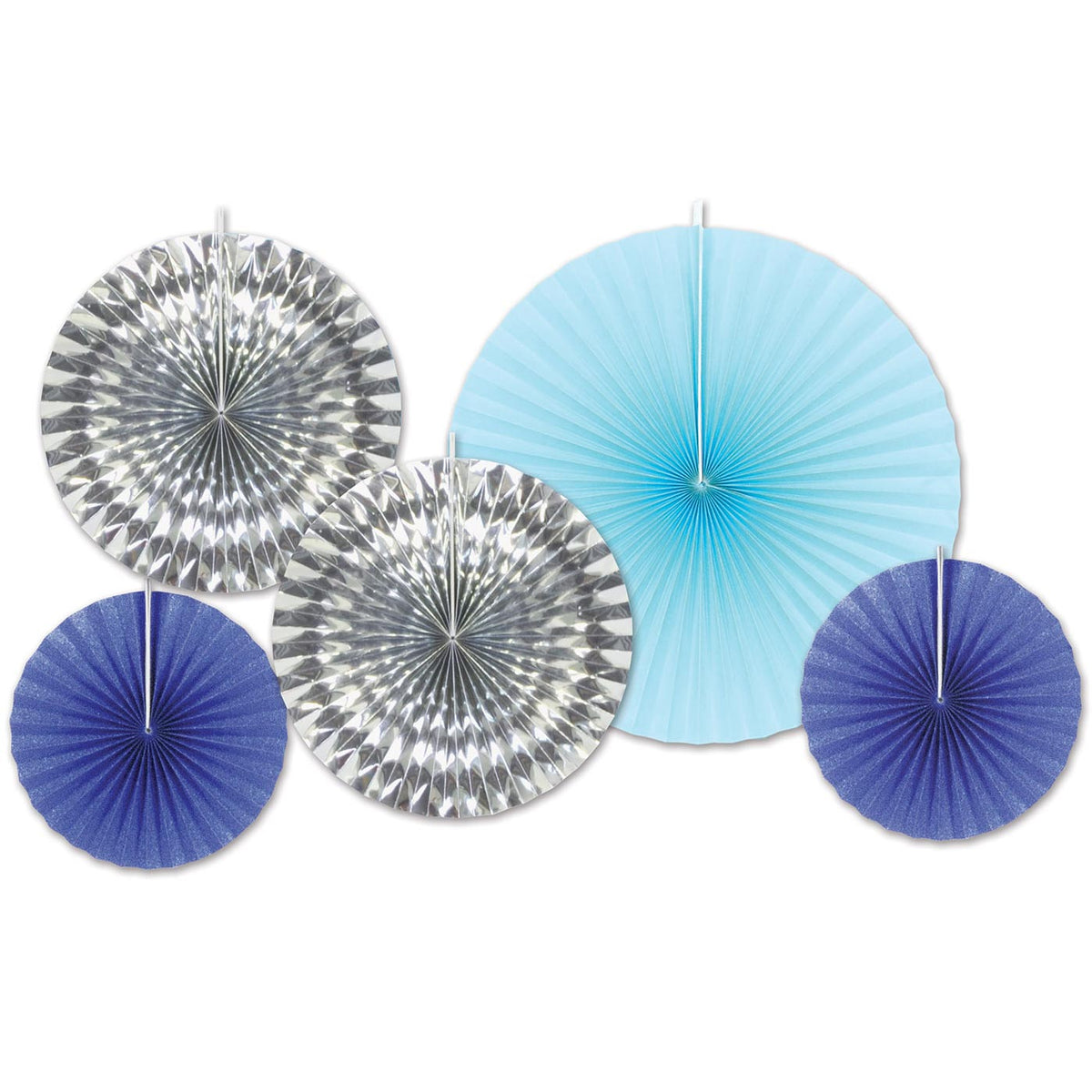 Blue & Silver Accordion Paper Fans