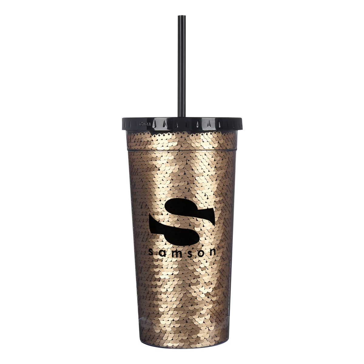 Gold Personalized Sequin Tumbler