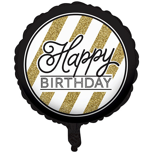 Black & Gold Happy Birthday Mylar Balloon