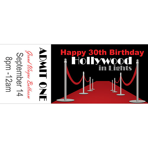Hollywood Red Carpet Personalized Tickets