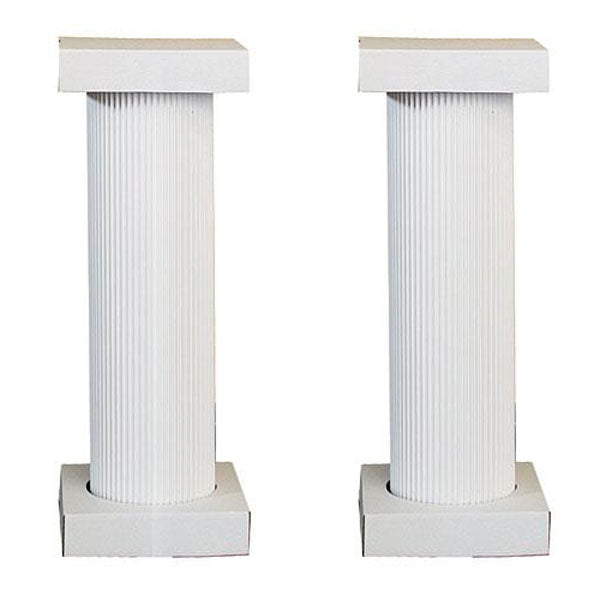4 ft. White Fluted Pedestal Pair