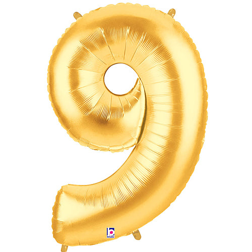 Number 9 Gold Mylar Balloon