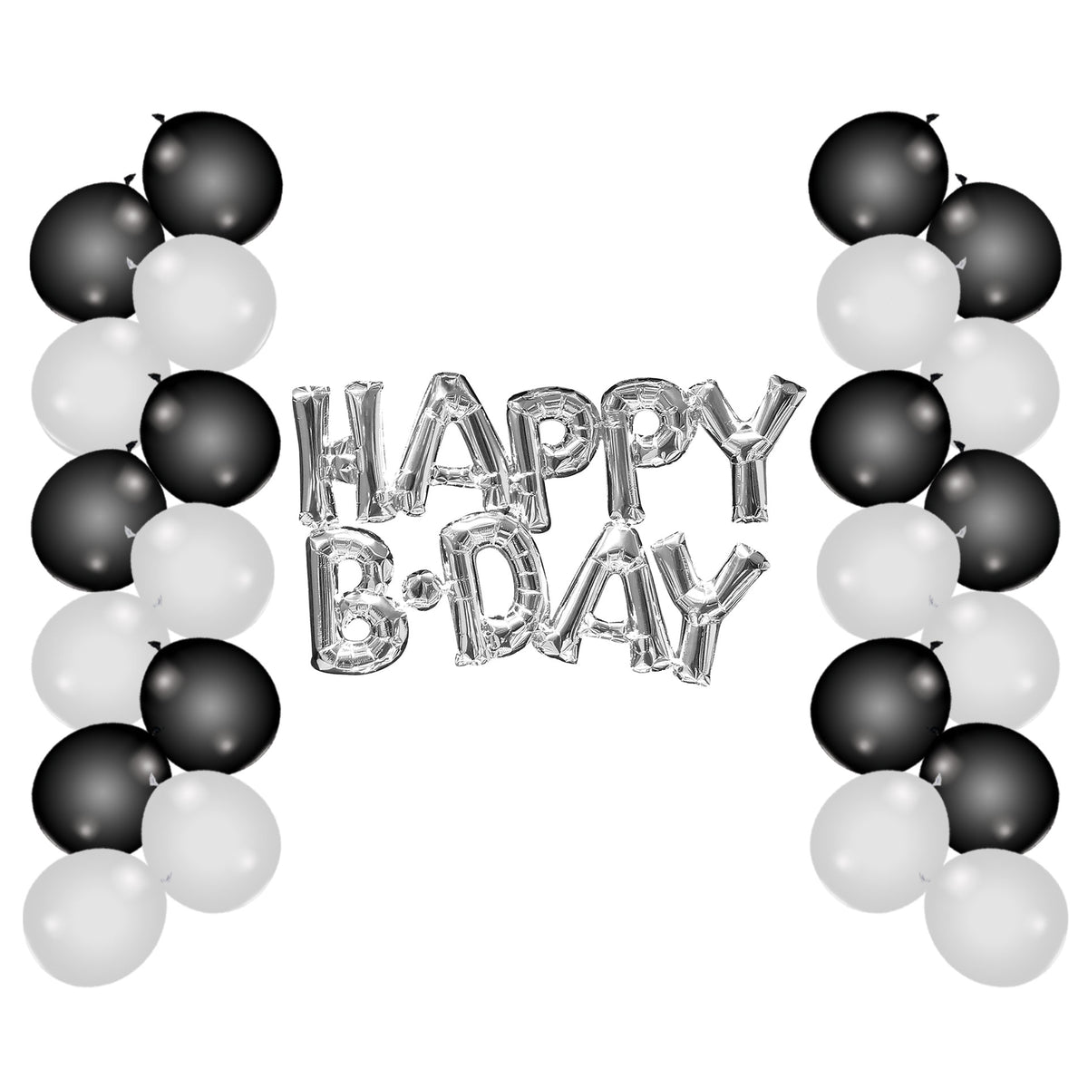 Black & White Happy B-Day Balloon Set