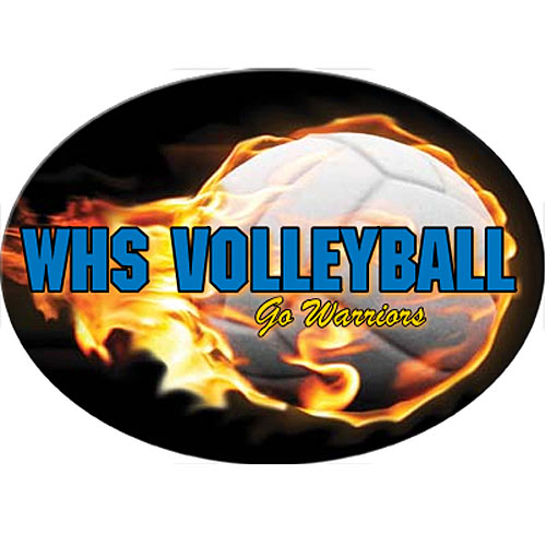 Flaming Volleyball Oval White Sticker