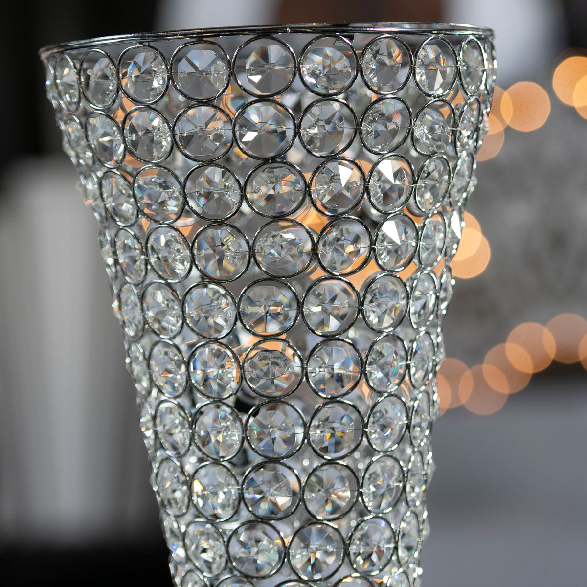 36 in. Silver Crystal Hourglass Column