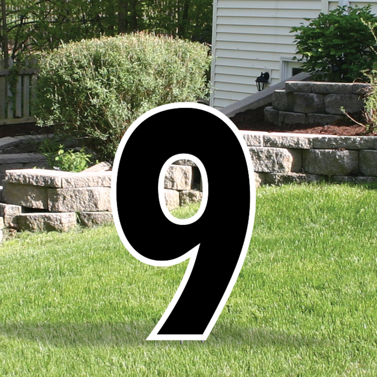 Black Yard Sign Expression Number 9