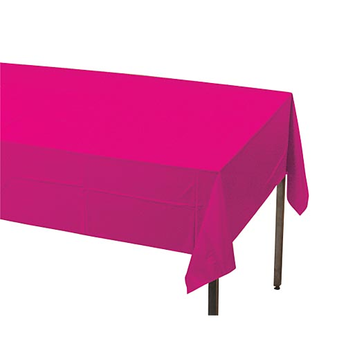 Hot Pink Rectangle Plastic Table Cover