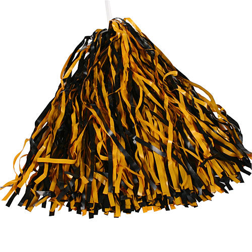 Black & Bright Gold Spirit Pom Poms