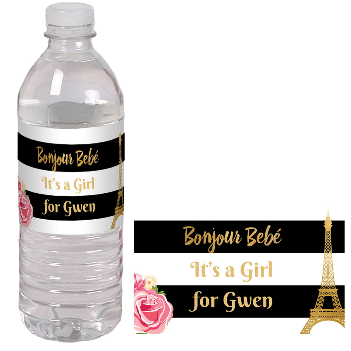 Bonjour Bebe Personalized Water Bottle Labels