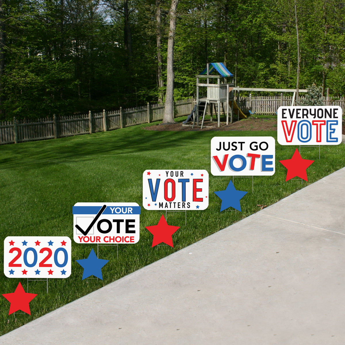 8 in. Just Go Vote Mini Yard Sign Expression Icons Set