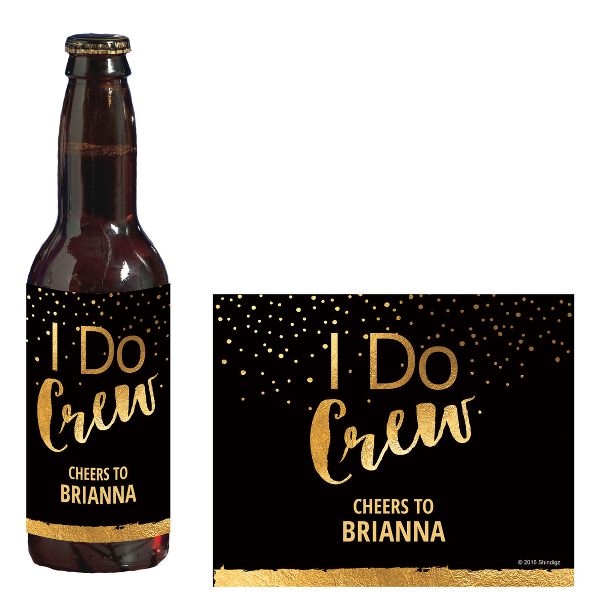 I Do Crew Personalized Glass Bottle Label