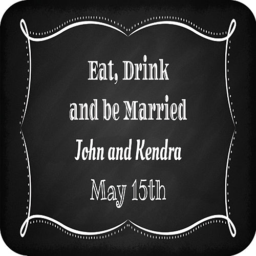 Eat, Drink & Be Married Square Stickers