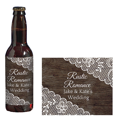 Rustic Romance Personalized Glass Bottle Labels