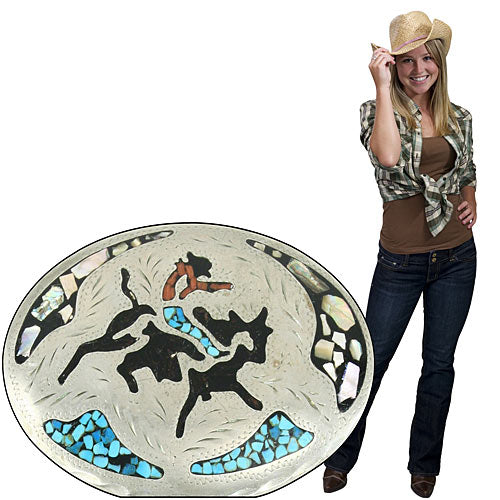 2 ft. 10 in. Rodeo Turquoise Belt Buckle Standee