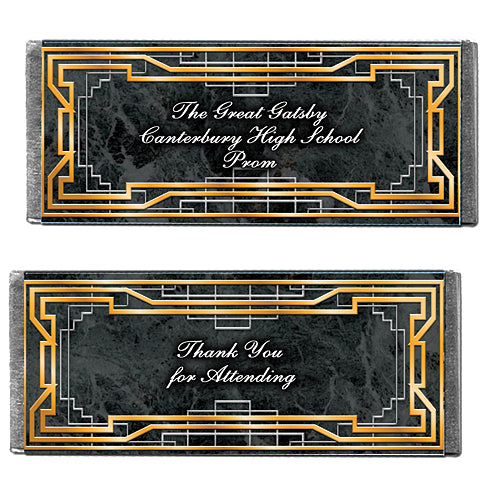 Hershey's Chocolate Art Deco Golden Personalized Candy Bars