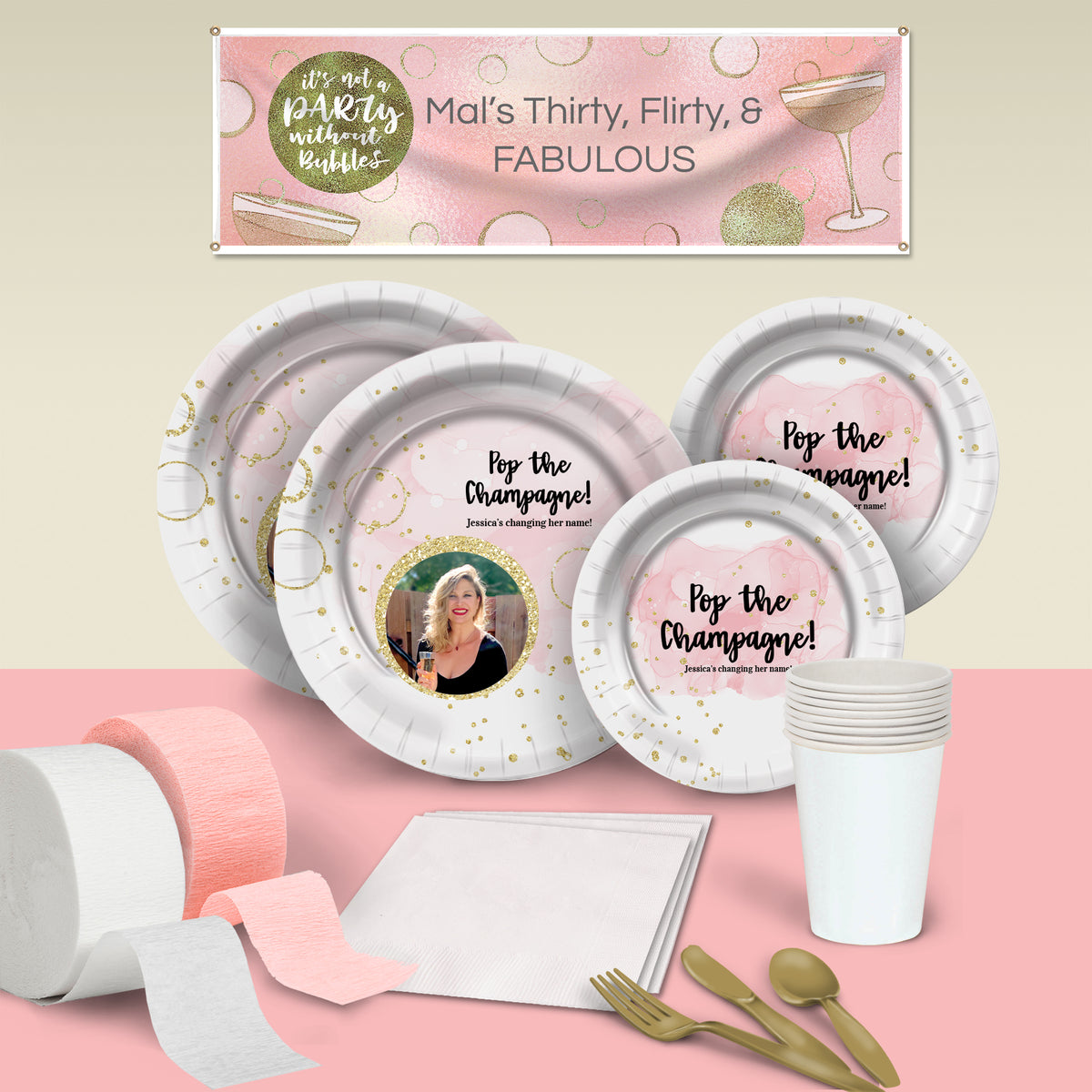 Bubbly Bash Deluxe Personalized Party Pack for 8