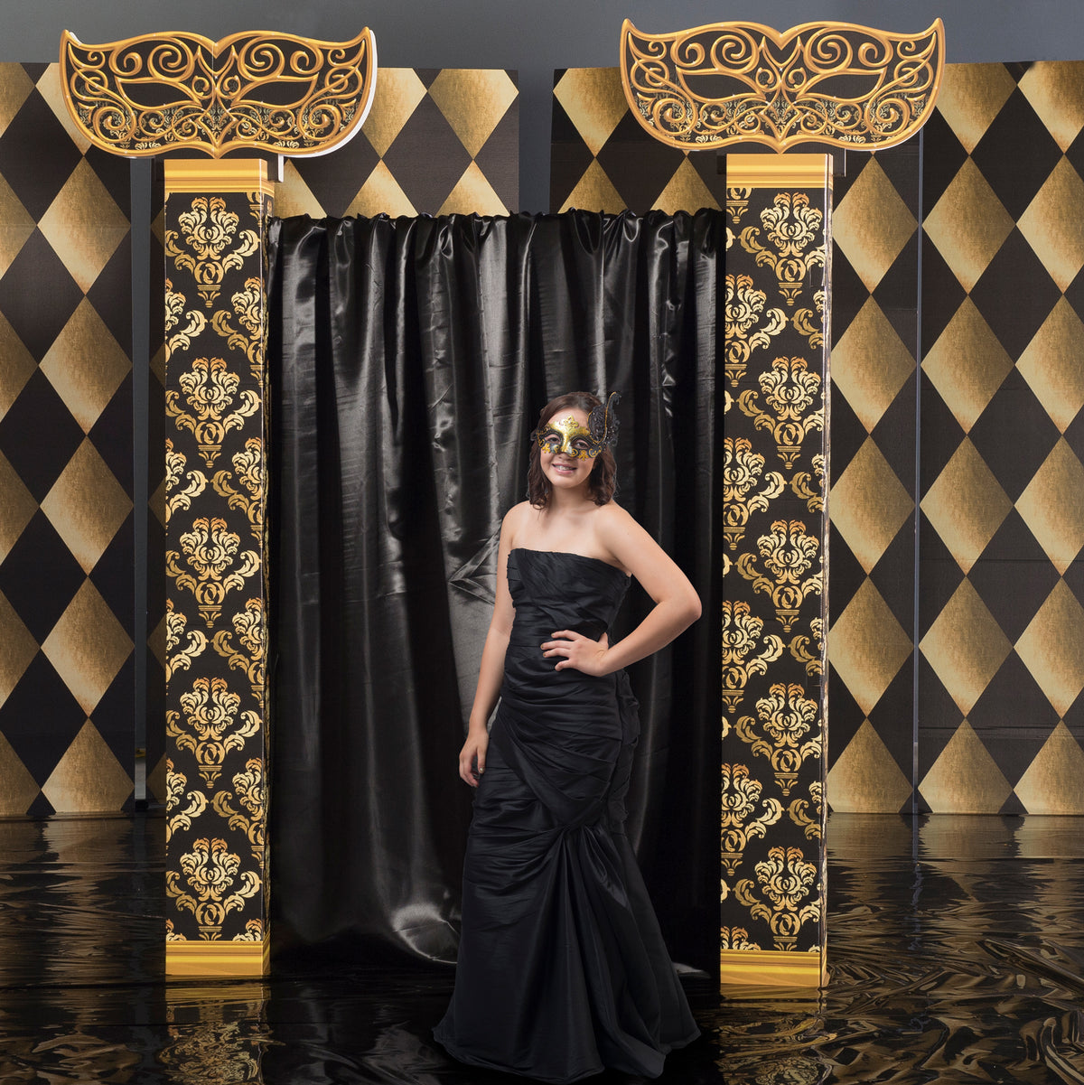 8 ft. 6 in. Black and Gold Masquerade Two Column Wall