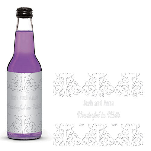 White Party Scrolls Glass Bottle Labels
