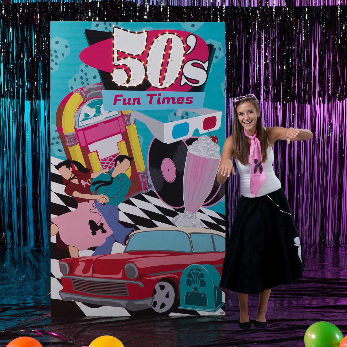 7 ft. Through the Decades 50's Lighted Background