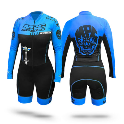 MPC Wheels Calavera Skinsuit Blue by Excel Skinz inline speed skating clothes