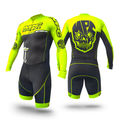 MPC Wheels Calavera Skinsuit Flup Yellow by Excel Skinz Inline Speed Skating Apparel