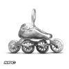 Silver Speed Skate Charm With Rolling MPC Wheels