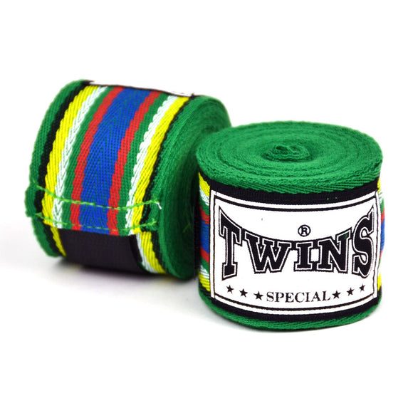 Twins Green Striped Hand Wraps - 5m