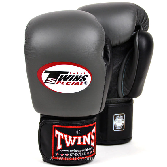 Twins Two Tone Muay Thai Gloves - Grey & Black (BGVL3-2T)