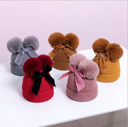 Double Bowknot  Knitted Autumn Winter Cotton Warm Baby Hat