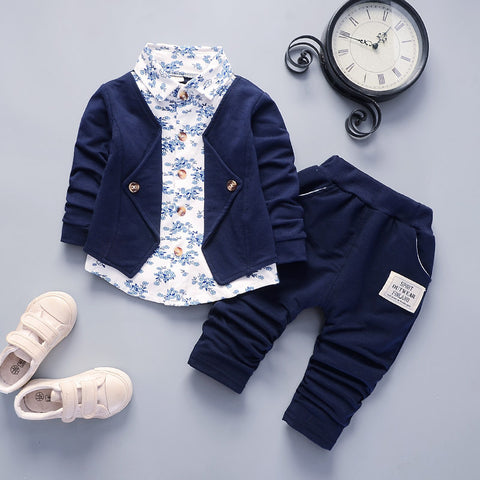 2pcs/set New Children's Baby Boy Clothes Set Fashion Print Stand-up Collar Button Shirt Top Pants Infant Baby Boy Clothing Suit