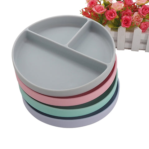 Baby Feeding Round Shaped Silicone Dinner Bacteria Resistant Silicone Plate