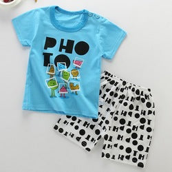 Unisex Cotton Cartoon Casual Baby Pants & T-Shirt Clothing Set