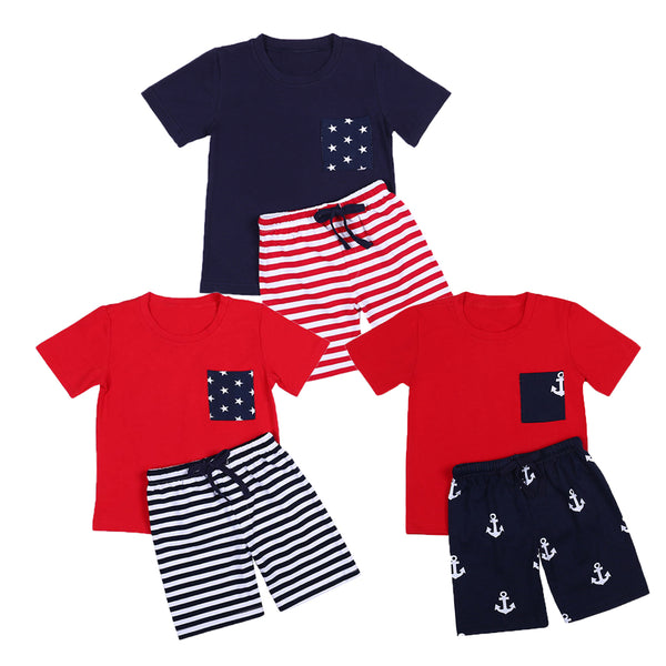 Unisex Cotton Casual Solid Short Sleeve Clothing Set