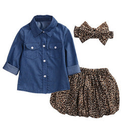 Long Sleeve Denim| Leopard Print Skirt Cotton Two Piece Set