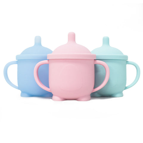 2 N 1 Soft Silicone Infant Training Drink Cup Baby Water Straw Cup