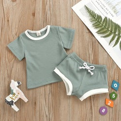 Unisex NewBorn Breathable Cotton Stretchy Rib  Casual Short Sleeve and Pants Set