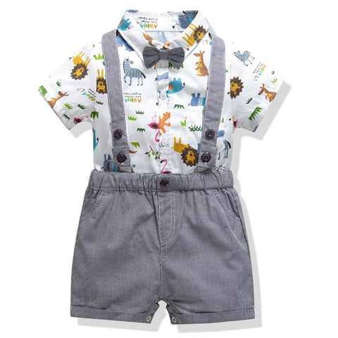 2020 fashion Summer style baby boy clothing set newborn infant clothing short sleeve t shirt + romper pants suspenders suit