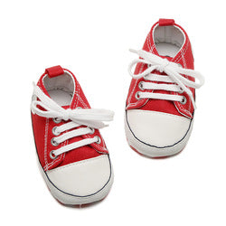 Unisex Lace Up Casual Baby Canvas Pre Walker Shoes
