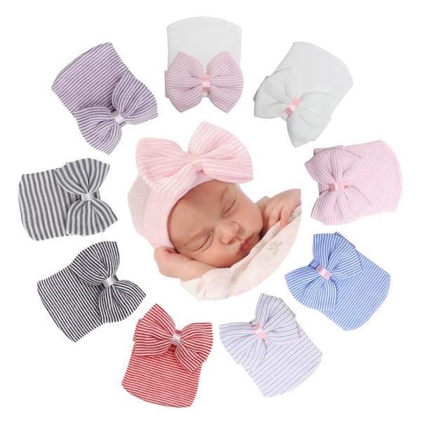 New Born Cotton Knitted Beanie Soft Hat with Bow