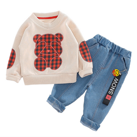 2020 Spring Baby Boys Clothing Sets Bear T-shirt Jeans Toddler Infant Clothes Children Vacation clothing