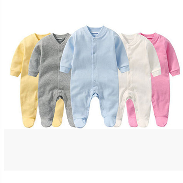 Unisex interlock long sleeve baby romper with snap button